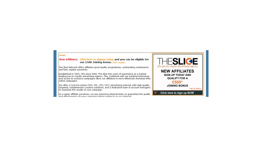 A Chunk For The Slice Affiliate Network
